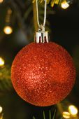 Red christmas ball decoration hanging  — Stock Photo