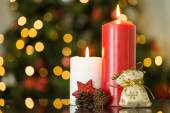 Focus on christmas candles and decorations — Stock Photo