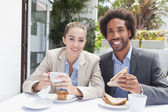Happy business people on their lunch — Stock Photo