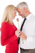 Romantic mature couple holding rose — Stockfoto