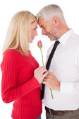 Romantic mature couple holding rose — Stok fotoğraf