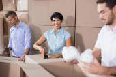 Warehouse workers preparing shipment in — Stock Photo