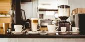 Selection of coffee on the counter — Foto Stock
