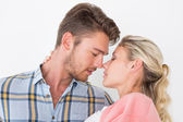 Romantic young couple about to kiss — Foto Stock