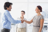 Business man shaking colleagues hand — Stock Photo
