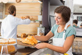 Pretty waitress holding tray of croissants — Stock Photo