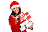 Young brunette with many christmas presents — Foto Stock