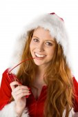 Festive redhead smiling at camera — Stockfoto