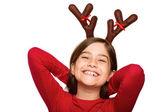 Festlig liten flicka klädd i horn — Stockfoto