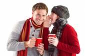Couple both having warm drinks — Stock Photo