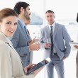 Business people welcoming new staff — Stock Photo #53920401