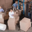 Warehouse workers preparing shipment in — Stock Photo #53922829