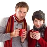 Couple both having warm drinks — Stock Photo #53924265