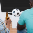 Two soccer fans watching tv — Stock Photo #53924367