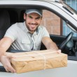 Delivery driver offering parcel — Stock Photo #53926371