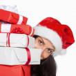 Woman holding many christmas presents — Stock Photo #53926717