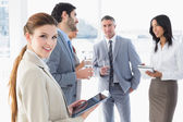 Business people welcoming new staff — Stock Photo