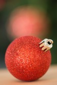 Close up of red christmas bauble — Stock Photo