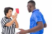 Referee showing red card to football player — Stock Photo