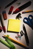 Students table with school supplies — Photo