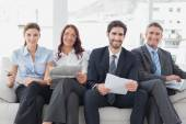Business team reviewing work notes — Stock Photo