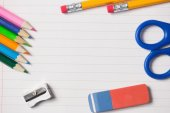 Notepad and school work supplies — Stok fotoğraf