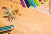 Overhead shot of pupils desk — Foto Stock