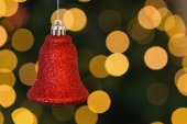 Red christmas bell decoration hanging — Stock Photo