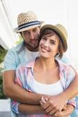 Happy couple standing and hugging — Stockfoto