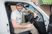 Delivery driver smiling — Stock Photo