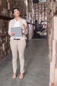 Warehouse manager checking her inventory — 图库照片