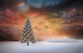 Fir tree in snowy landscape — Stock Photo