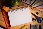 Students table with school supplies — Foto Stock
