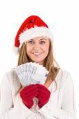 праздничный показ блондинка вентилятора евро — Стоковое фото