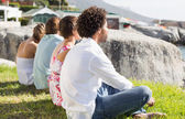 Gorgeous friends looking out to sea — Stock Photo
