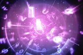 Blue and purple technology interface — Stock Photo