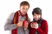 Couple both having warm drinks — Foto de Stock