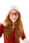 Festive redhead smiling at camera — Stok fotoğraf