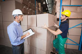 Warehouse worker loading up pallet with manager — Stok fotoğraf