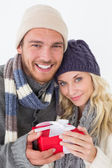 Attractive couple in warm clothing holding gift — Stockfoto