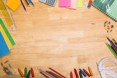 Overhead shot of pupils desk — Foto Stock