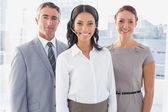 Businesswoman wearing a work headset — Stock Photo