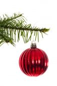 Red christmas decoration hanging from branch — Stock Photo
