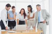 Business team discussing work details — Stock Photo