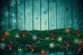 Fir branch christmas decoration garland — Stock Photo