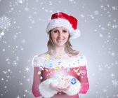 サンタの服で、かわいい女の子の合成画像 — ストック写真