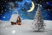 Christmas tree and house — Stock Photo