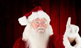 Imagem composta de Papai Noel apontando — Fotografia Stock