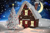 Christmas tree and house — Stock Photo
