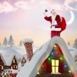 Composite image of santa claus ringing bell — Stock Photo #56893215